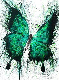 "Garden Butterfly ""Night Garden Butterfly"" by Ashvin Harrison. Bluethumb - Online Art Gallery""Night Garden Butterfly"" by Ashvin Harrison. Butterfly Canvas, Butterfly Painting, Butterfly Watercolor, Watercolor Art, Green Butterfly, Butterfly Wings, Dance Paintings, Paintings For Sale, Borboleta Tattoo"