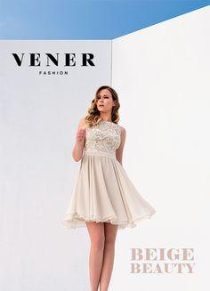 Νέα Συλλογή Άνοιξη - Καλοκαίρι 2015  VENER φόρεμα με φλοράλ δαντέλα και  chiffon αεράτο τελείωμα d702ce94c11