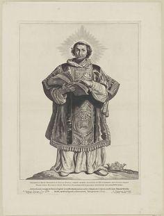 Cornelis Visscher (II)   H. Adalbertus van Egmond, Cornelis Visscher (II), Pieter Claesz. Soutman, unknown, 1650   De heilige Adalbertus is afgebeeld als aartsdeken met tuniek en albe. Hij houdt een boek vast. Voor hem op de grond ligt een kroon en scepter. Deze prent maakt deel uit van een reeks Nederlandse heiligen.