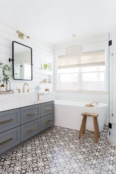 Classic bathroom style has been generally utilized for quite a long time. There are a great deal of families who like structuring a classic bathroom this style isn't outdated. It will probably last even in some future years. Bathroom Renos, Bathroom Flooring, Bathroom Faucets, Bathroom Ideas, Bathroom Renovations, Shiplap Bathroom, Bathroom Tray, Bathroom Canvas, Concrete Bathroom