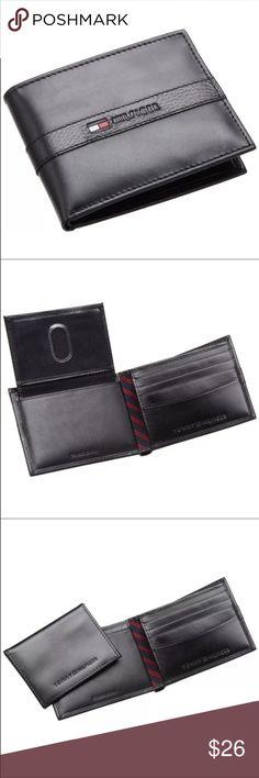 "New Tommy Hilfiger Men's Black Leather Wallet New Tommy Hilfiger Men Wallet Color: Black  Size: 4.2"" x 3.2"" 4 Credit Card Slots 1 Bill Slot Tommy Hilfiger Accessories Hats"