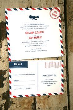 air mail wedding invitation by Jack & Jill Wedding