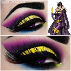 Kiki Makeup  Inspired by DC's Batgirl!   Products used:  Sugarpill's poison plum eyeshadow. (Best purple in the world)  Coastal Scents 252 palette for the yellow and pink.   ... Liner is coastal scents liquid in Jet.