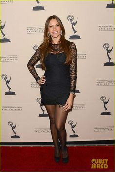 Sofia Vergara in For Love & Lemons Black Scarlet Dress