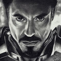 Amazing drawing of Robert Downey Jr. as Iron man.