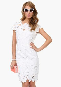 White Short Sleeve Floral Crochet Bodycon Dress
