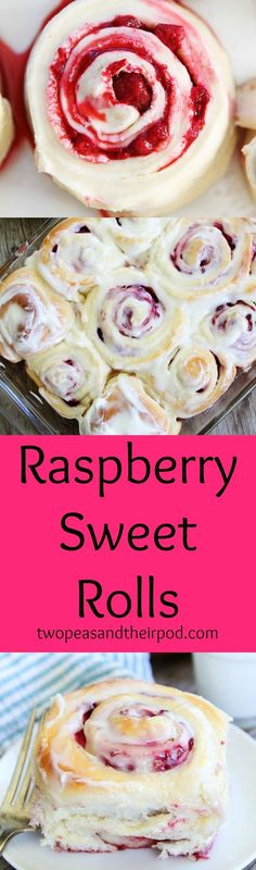 Raspberry Sweet Rolls with Cream Cheese Frosting Recipe on http://twopeasandtheirpod.com The BEST sweet rolls recipe! They are perfect for special breakfasts!