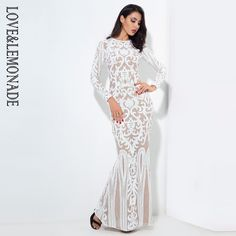 0a1be6718603 Love&Lemonade Sexy Self-Cultivation White Geometric Graphics Sequins Maxi  Dress LM0591 Prom Dresses Long Modest