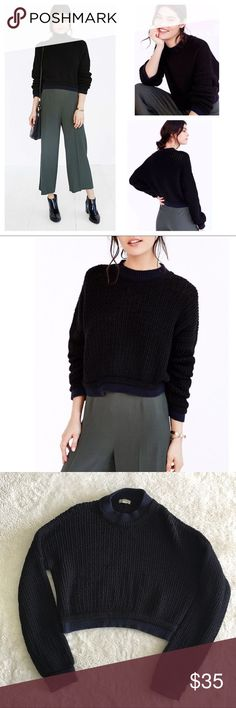 Silence + Noise Connor Wave Stitch Sweater Super cute! Navy blue neckline and hem. Cropped style. Just a full pulls, but in overall good condition. Urban Outfitters Sweaters