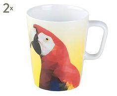 Set di 2 mug in porcellana Premium Exotic Birds Ara, 300 ml