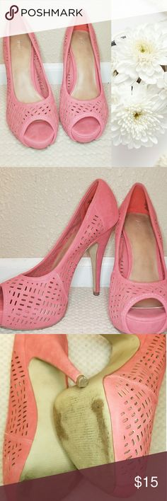 Playful Pink peep toe heels Salmon/pink color - pattern with holes throughout - used bottom but still in great shape. 8.5 women's size. - Clean! Apt. 9 Shoes Platforms