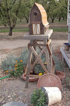 """Unique home """"for the birds"""" made from  Local California barnwood - handmade crafted & designed by local contractor... Many attached w/original vintage hardware..."""
