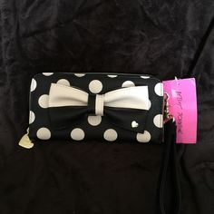Betsey Johnson  wallet polka dot bow black white ~ Betsey Johnson ~  Polka Dot wallet wristlet  NWT zip-around ivory black holds credit cards inside zippered pocket extra compartments pink satin lining  msrp $68.00 Betsey Johnson Bags Wallets