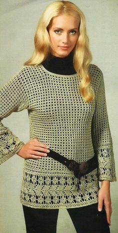 Crochetemoda: Túnica Verde de Crochet II