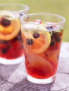 Your favorite fresh-fruit packs this summer beverage. Garnish with fresh mint before serving.