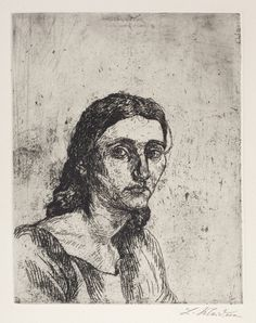 Portrait of Isa by Ludwig Meidner   Drypoint, 1922.