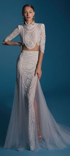 862cba03f1b09 Lior Charchy Wedding Dresses ,Two piece short sleeves mermaid wedding gown  Like the top. The bottom tulle is wack