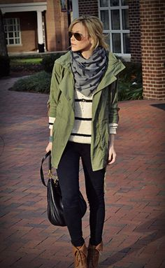stripes + patterned scarf / olive utility jacket / black / brown