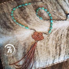 Edit description Bailey Necklace – turquoise and leather flower necklace from Savannah Sevens Western Chic Diy Jewelry Necklace, Leather Necklace, Leather Jewelry, Jewelry Crafts, Stone Necklace, Flower Necklace, Necklace Set, Leather Craft, Fashion Necklace