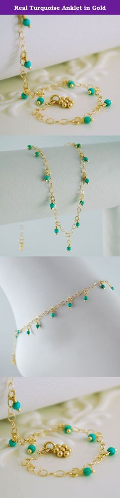 """Real Turquoise Anklet in Gold. This real turquoise anklet is so lightweight you'll forget that you have it on! In this pretty design, tiny turquoise stones dangle from gold-filled chain in a little fringe around your ankle. The anklet is secured with a lobster clasp, which may be fastened at any point along the chain. A gold vermeil flower charm is a pretty touch. This anklet would look great with a summer tan. The length of this anklet is about 9.25"""" (23.5cm). Other lengths are available…"""