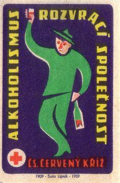 Text says: Alcoholism destroys society Vintage Posters, Vintage Art, Banners, Matchbox Art, Colour Field, Vintage Packaging, Cover Art, Ephemera, Illustration Art