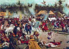 Camp of Poles and Cossacks besieging the Holy Trinity Monastery , 1609 . Artist - Sergei Ivanov