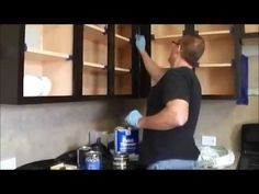 "Here's a link to my new ""How to gel stain kitchen cabinets"" http://youtu.be/plePW69gKcw The easiest and cheapest way to update your kitchen cabinets. The pro..."