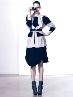 Dehry Stripe Cardi and Bosse Skirt  www.polclothing.com.au