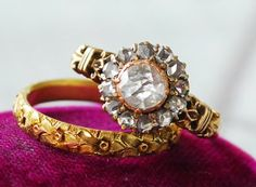 Antique 18k Green Gold Floral Motif Band $540, Victorian 18k and Rose Cut Diamond Cluster Ring