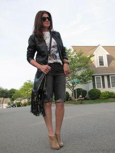 Look Do Dia Bermuda Jeans+Jaqueta De Couro (5)