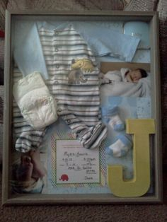 Cute shadow Box for new baby... thinking of making one of these for my nephew