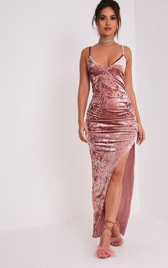 isabellegeneva Sansia Pink Crushed Velvet Asymmetric Maxi Dress - Dresses  - PrettylittleThing US  c37cca5f6