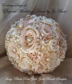 ROSE GOLD Brooch Bouquet Brooch Bouquet Custom Brides