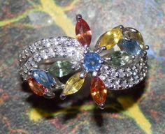 GENUINE Multi-Color SAPPHIRES 2.87 T.C.W.  on 925 Sterling Silver Handmade Cocktail RIng, size 9