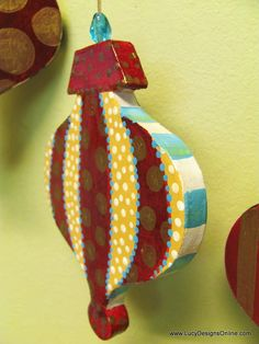 DIY Whimsical Hand Painted Large Paper Mache Christmas Ornaments with Black and White Checks, Peacock Feathers, Dots, Stripes and More