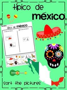 Cut and glue activity IN SPANISH for teaching what is typical of Mexico. Perfect for using during Cinco de mayo ~ or for a unit on Mexico.
