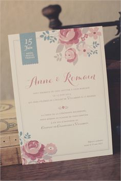 Vintage style wedding invite. Stationery: Nabe Fabric ---> http://www.weddingchicks.com/2014/06/05/vintage-chic-french-wedding/