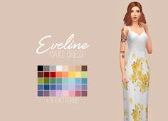 Eveline Maxi DressI've always adored the bridesmaid dress from the base game, but hated the flowers as they seemed a bit too childish for me. I removed the flowers and edited the texture quite a bit - and here's the result! I feel like they are a lot...