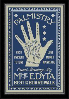 Palm Reader Poster Boardwalk Empire Atlantic City 1920's. $75.00, via Etsy.