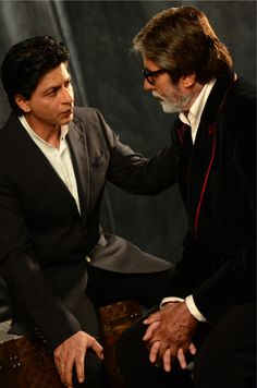 Shah Rukh Khan & Amitabh Bachchan during the photoshoot for the cover of Filmfare 100 years of Cinema