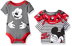 Baby Boy Bodysuit | Disney Baby Boys' 3 Pack of Mickey Mouse Bodysuits, Red, 3/6 Months