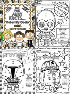 Far Far Away! A galaxy of Star Wars fun! This file includes 11 math color by code pages that cover the basic addition facts with sums of 0-20. These sheets can be used as centers, bell ringers, homework, skill reinforcement, work for early finishers... Use of these pages encourages and reinforces skills taught; yet the students are having fun while learning. My kiddos love these sheets! CCSS aligned TPT $