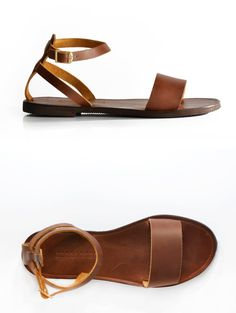 Sandals Leather Sandals Minimal Ankle strap women by SAVOPOULOS