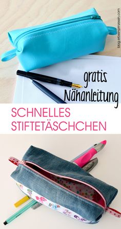 """Free sewing instructions """"fast Schlampermäppchen"""" - Sewing-Freebook, Sewing Pattern & Sewing Manual for a Pencil Case / Pencil Case / Pencil Case - Box Bag, Sewing Patterns Free, Free Sewing, Pattern Sewing, Sewing Hacks, Sewing Tutorials, Artisanats Denim, Fabric Purses, Sewing Toys"""