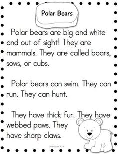 Arctic Animals Research Reading You can use these simple, nonfiction reading passages with non-readers and fluent readers. You can use them during whole group or guided reading groups. First Grade Science, Kindergarten Science, Kindergarten Reading, Reading Activities, Teaching Science, Teaching Reading, Winter Activities, Reading Groups, Guided Reading