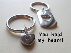 Couple Keychain Set, Heart & Cutout Heart Key Ring Gift, Husband and Wife, Girlfriend and Boyfriend, You hold my heart! Valentines Day Gift Ideas, Cards