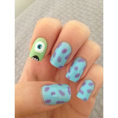 Monsters inc nail art ❤ liked on Polyvore featuring beauty products, nail care, nail treatments, nails and inc international concepts