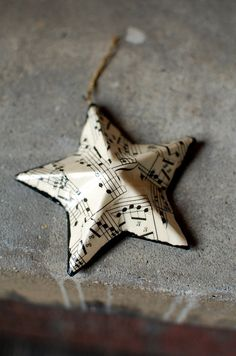 Star Christmas Ornament - Vintage Sheet Music Star