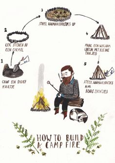 'How To' Illustrations make a thought provoking illustration project.How to Build a Campfire by Dick Vincent Illustration Children's Book Illustration, Illustrations Posters, Illustrators, Art Drawings, Doodles, Artsy, Sketches, Campfire Drawing, Prints