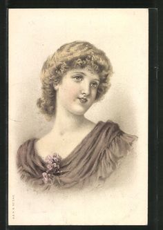 old postcard: Lithographie Portrait einer attraktiven Dame